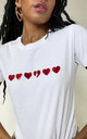Red Glitter Hearts Summer T-shirt in White by Lime Blonde