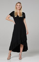 Asymmetrical Dress with a Frill in Black by Chelsea Clark