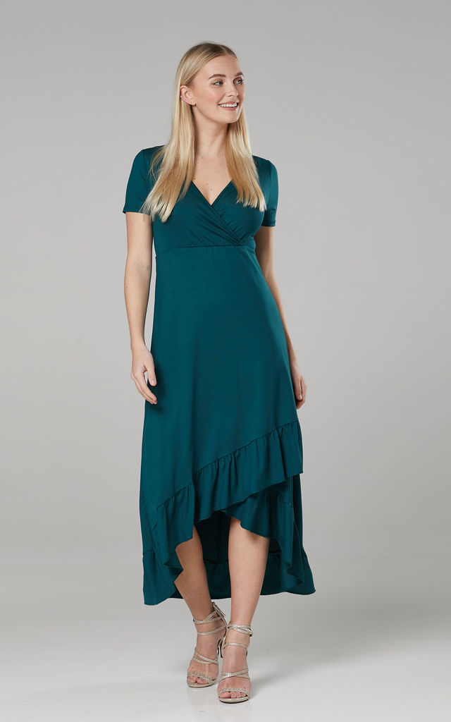 Asymmetrical Dress with a Frill in Green by Chelsea Clark