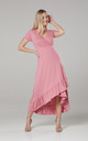 Asymmetrical Dress with a Frill in Rose by Chelsea Clark
