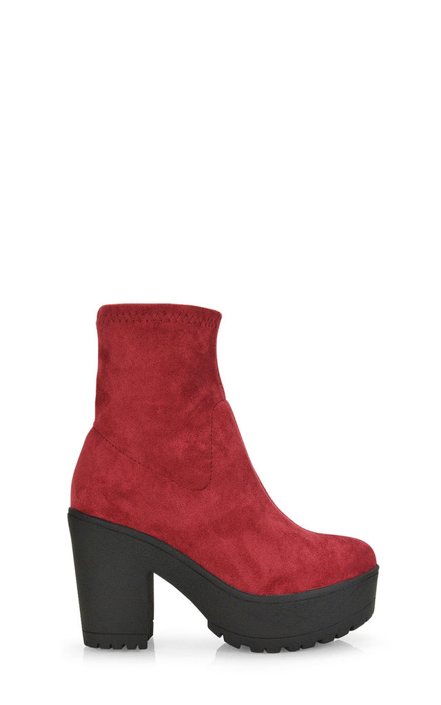 Brandi Platform Heeled Boots In Burgundy Faux Suede by XY London