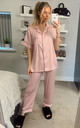 Stripe Satin Black Piping Short Sleeves Pyjamas in Baby Pink by ANGELEYE