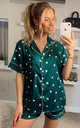 Heart Printed Satin Short Sleeves Pyjamas in Emerald Green by ANGELEYE