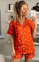 Heart Printed Satin Short Sleeves Pyjamas in Orange by ANGELEYE
