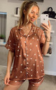 Heart Printed Satin Short Sleeves Pyjamas in Brown by ANGELEYE