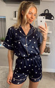 Heart Printed Satin Short Sleeves Pyjamas in Navy by ANGELEYE