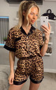 Leopard Printed Satin Short Sleeves Pyjamas in Black by ANGELEYE