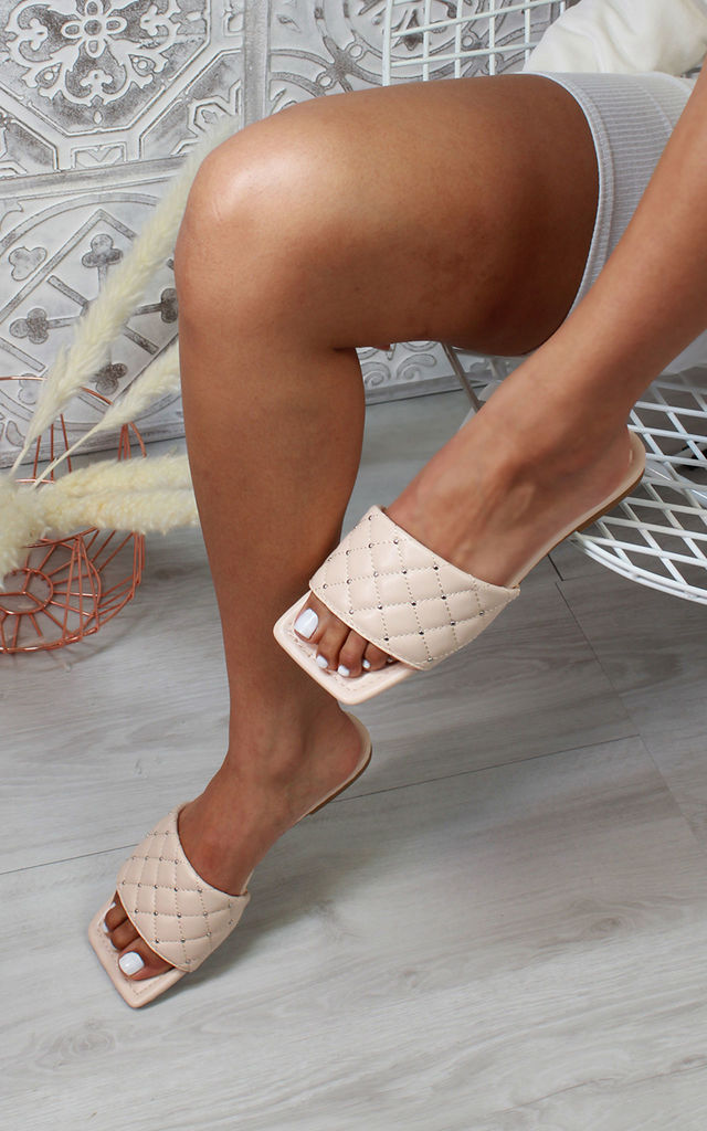 Kanani Quilted Flat Sandals in Nude by Larena Fashion