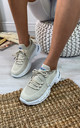 Azize Sock Sneakers in Beige by Larena Fashion