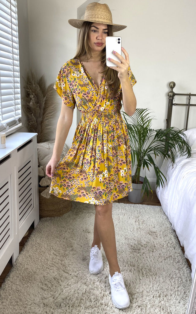 Daisy Cotton Crossover Mini Dress in Yellow by KURT MULLER