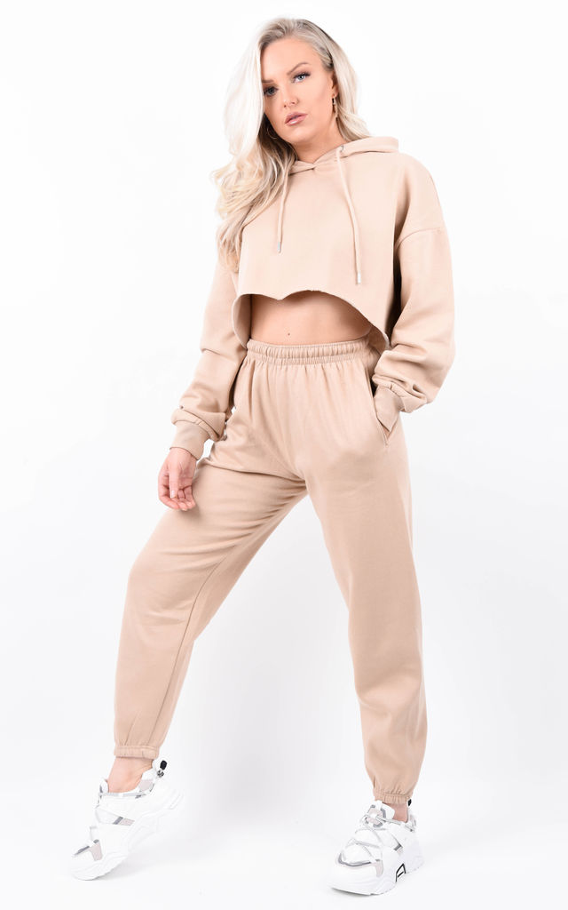 Stone Oversized Cropped Fleeced Hoodie & Jogger Co-ord by Boutique Store