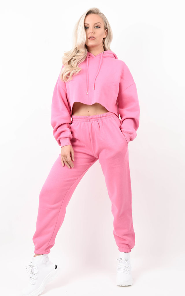 Pink Oversized Cropped Fleeced Hoodie & Jogger Co-ord by Boutique Store