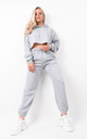 Grey Oversized Cropped Fleeced Hoodie & Jogger Co-ord by Boutique Store
