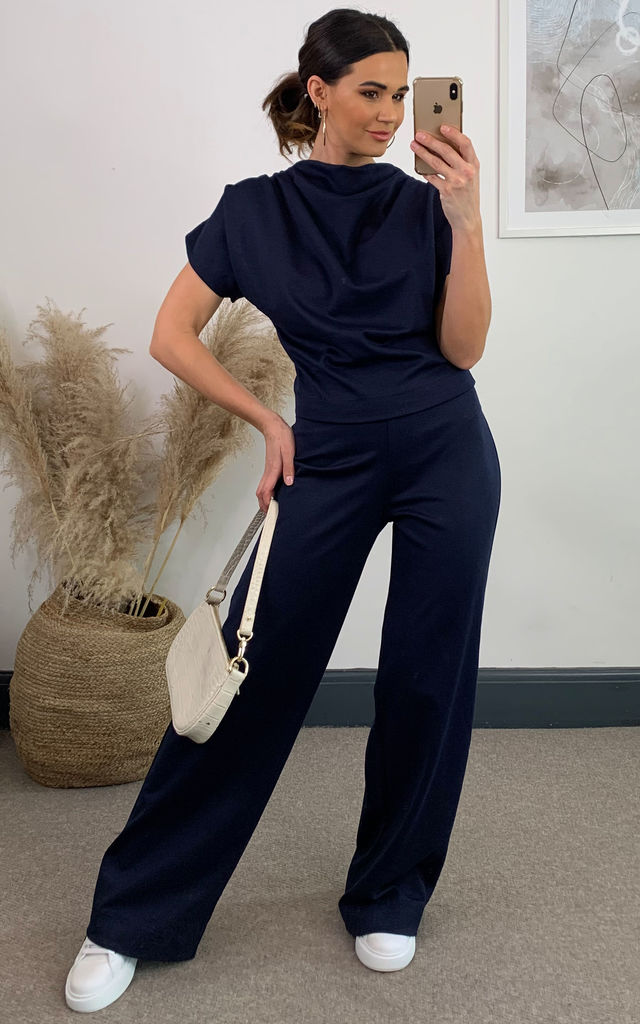 Luxe by Day Gracie Jersey Trouser Set in Navy by House Of Lily