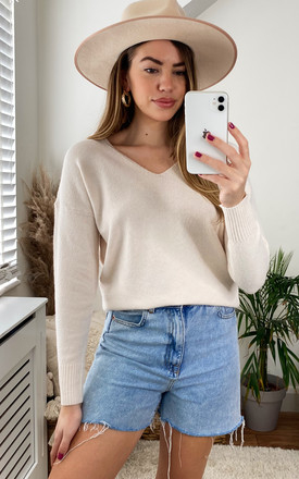 Knitted Top With V Neck In Cream by ONLY Product photo