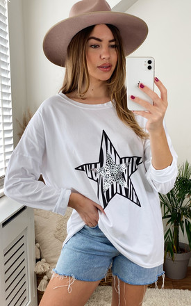 Long Sleeve Top With Double Animal Star In White by Bella and Blue Product photo