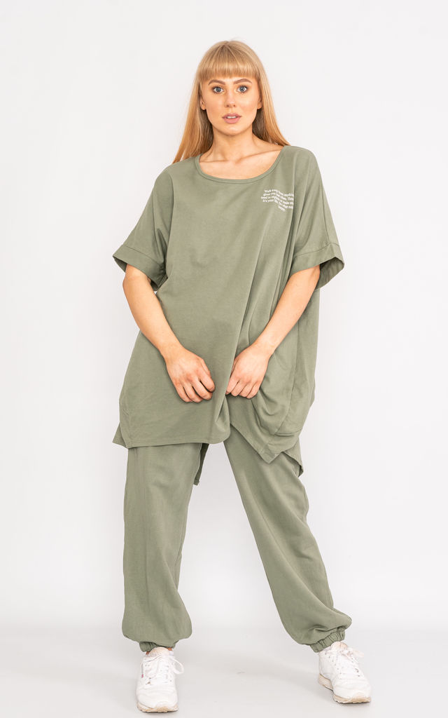 Khaki oversized short sleeve loungewear set. by Lucy Sparks