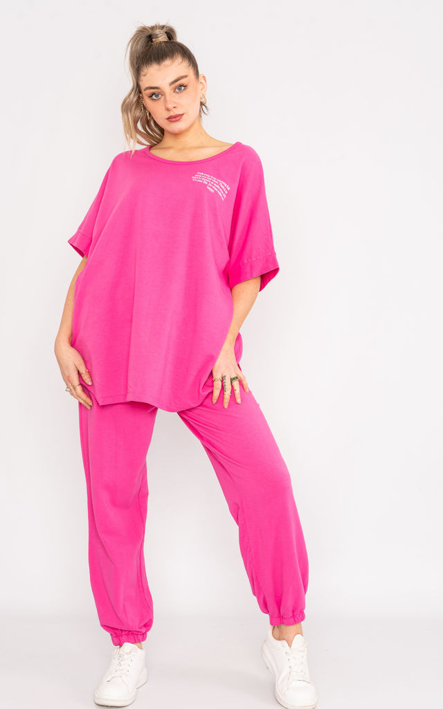 Pink oversized short sleeve loungewear set. by Lucy Sparks