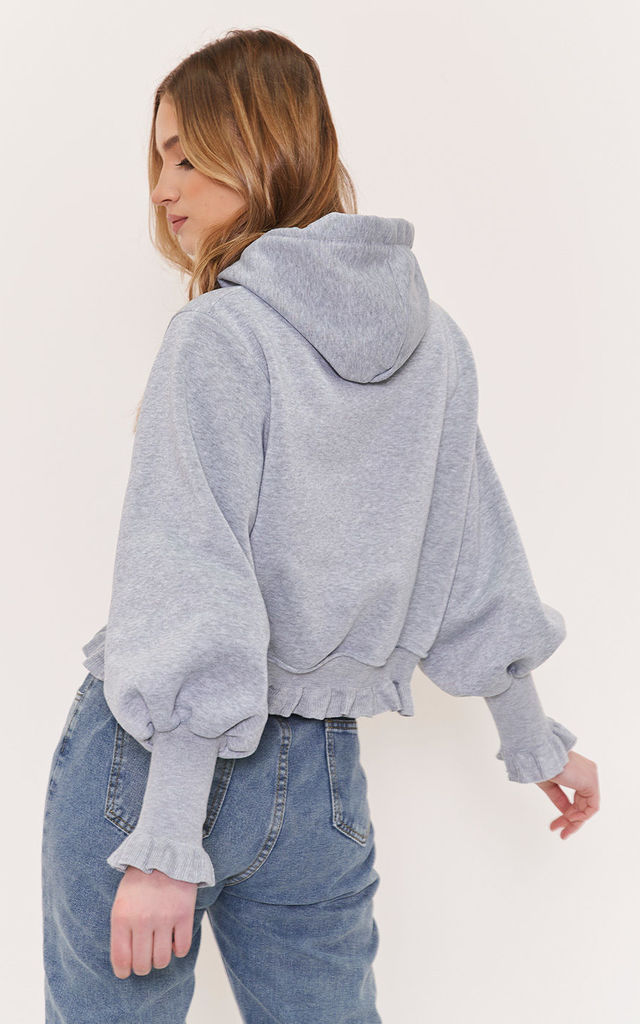 Frilled Hem Ribbed Puff Sleeve End Sweater Hoodie Top Grey by LILY LULU FASHION