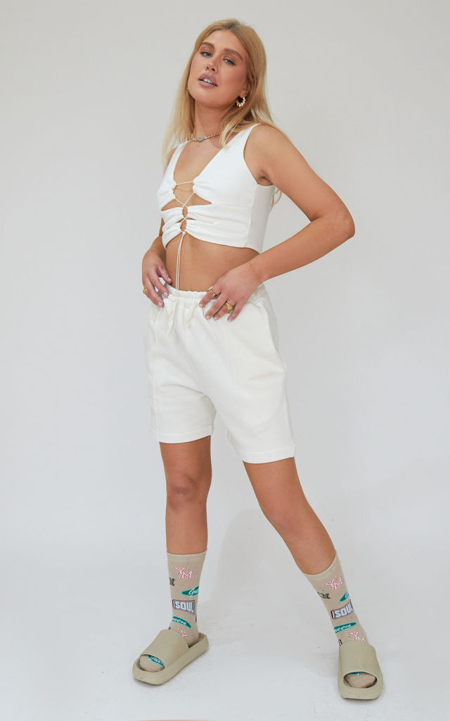 Pin-tuck Straight Shorts in Ecru by Awfully Pretty