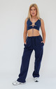 Pin-tuck Straight Joggers in Navy by Awfully Pretty