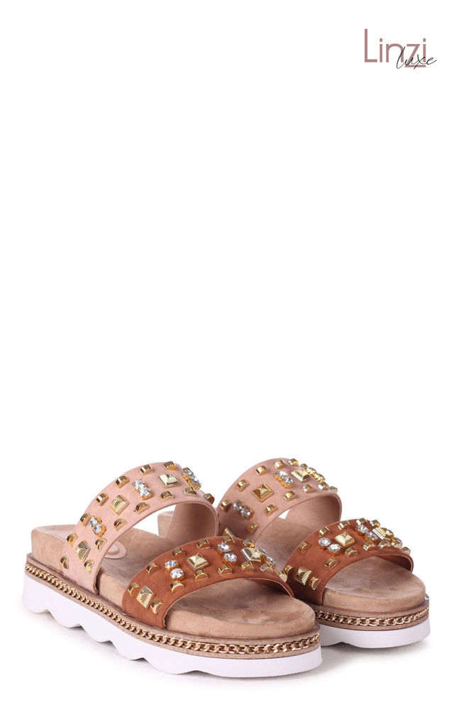 Linzi Luxe Monaco Tan & Nude Faux Suede Flatform Slider With Embellished Detail by Linzi