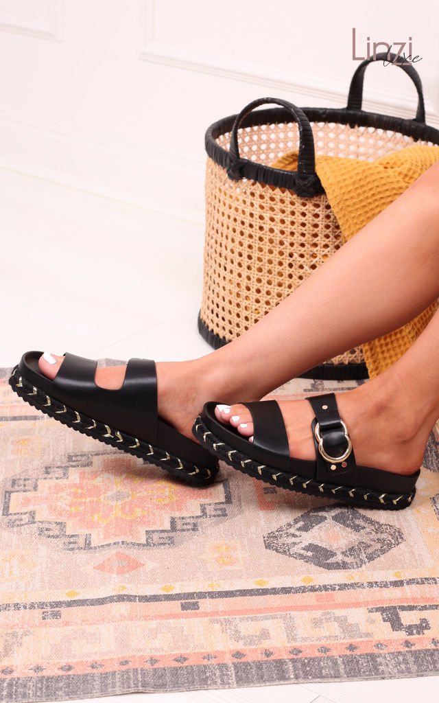 Linzi Luxe Jazzy Black Flatform Slider With Double Front Strap & Rope Trim by Linzi