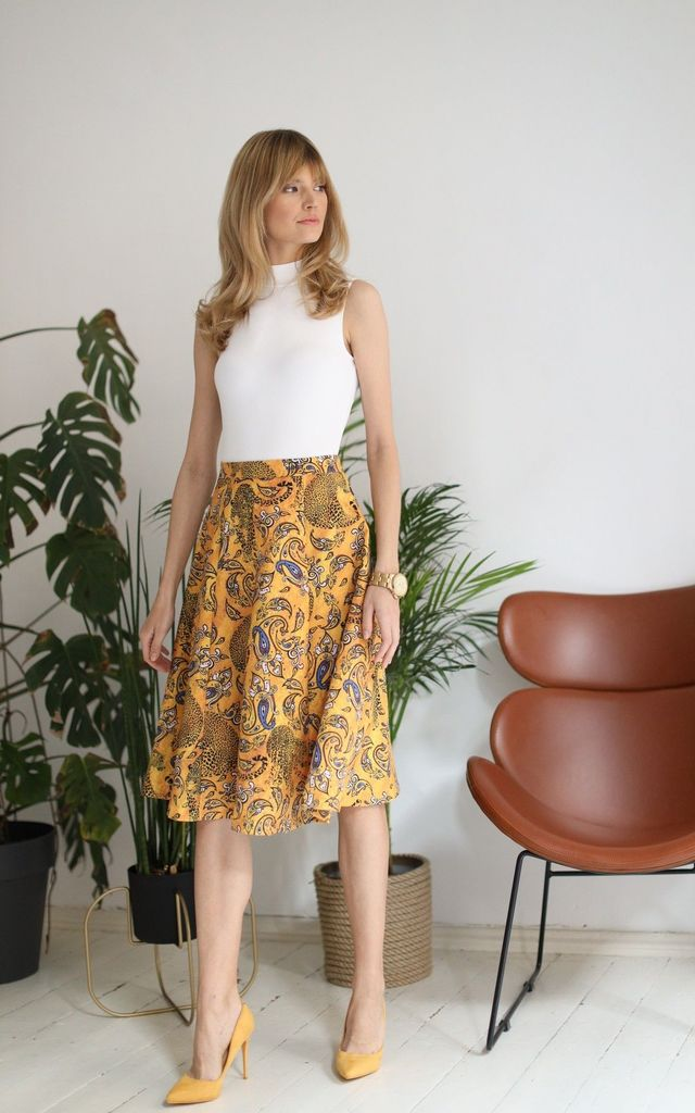 Elegant Flared Midi Skirt in Yellow Print by Bergamo