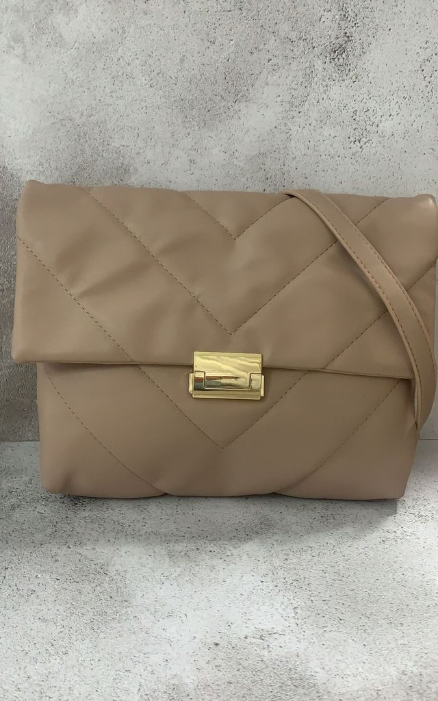 Nude quilted shoulder bag by Unscripted