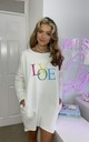 Bright LOVE Slogan Oversized Sweatshirt Dress in Ivory by Love