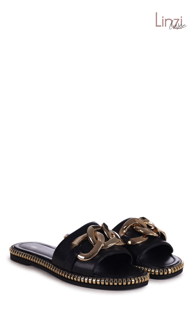 Linzi Luxe Cecilia Black Slip On Slider With Giant Chain Detail by Linzi