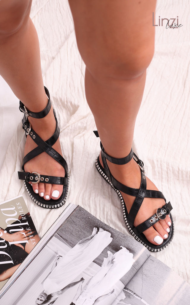 Linzi Luxe Texas Black Croc Gladiator Style Sandal With Chunky Chain Sole by Linzi