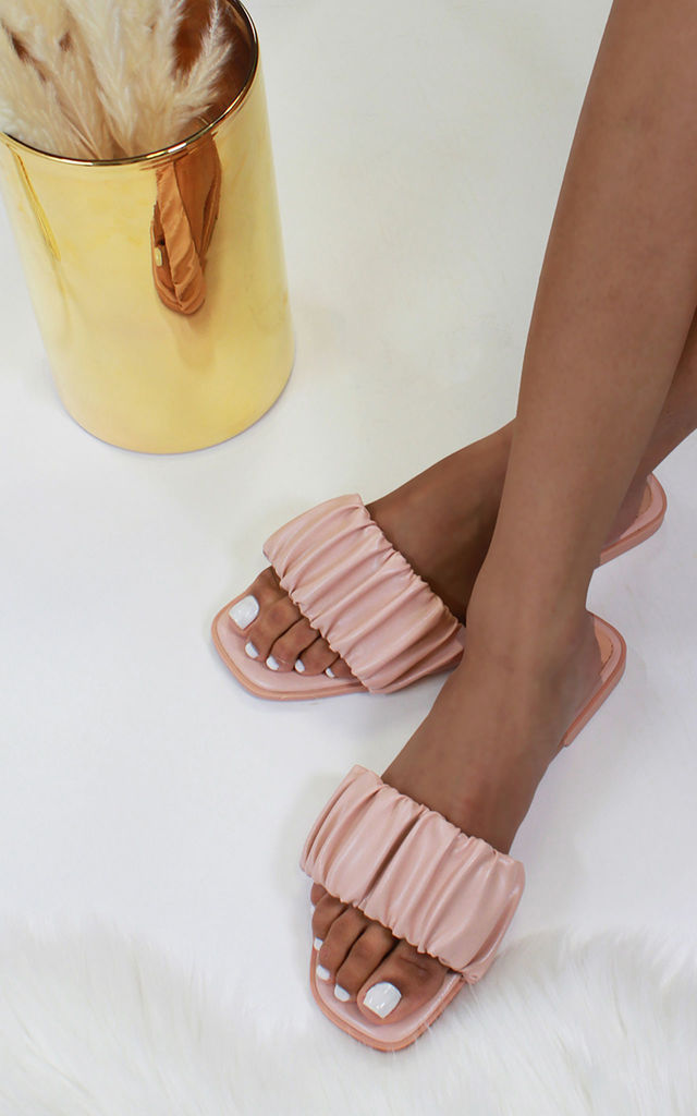 Naeva Ruched Strap Sandals in Pink by Larena Fashion