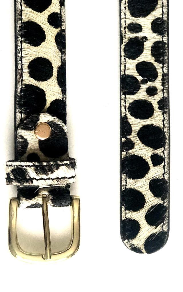 Dalmatian Printed Hair-on Leather Belt by hydestyle london