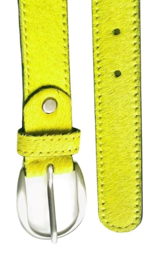 Lime Yellow Leather Hair on Hide Ladies Belt by hydestyle london