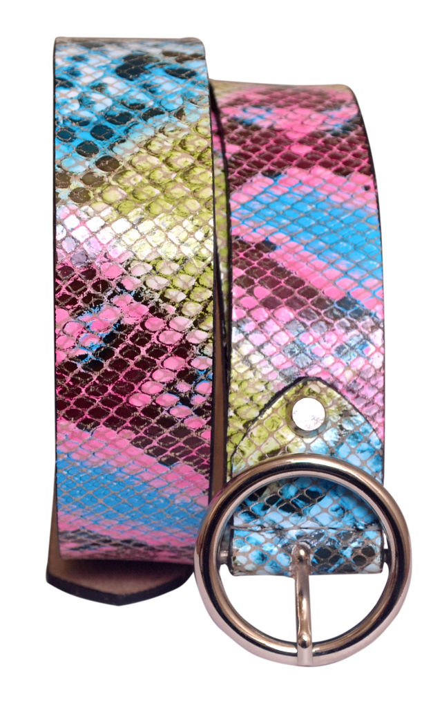 Blue Green Pink Snake Print Womens Wide Leather Belt by hydestyle london