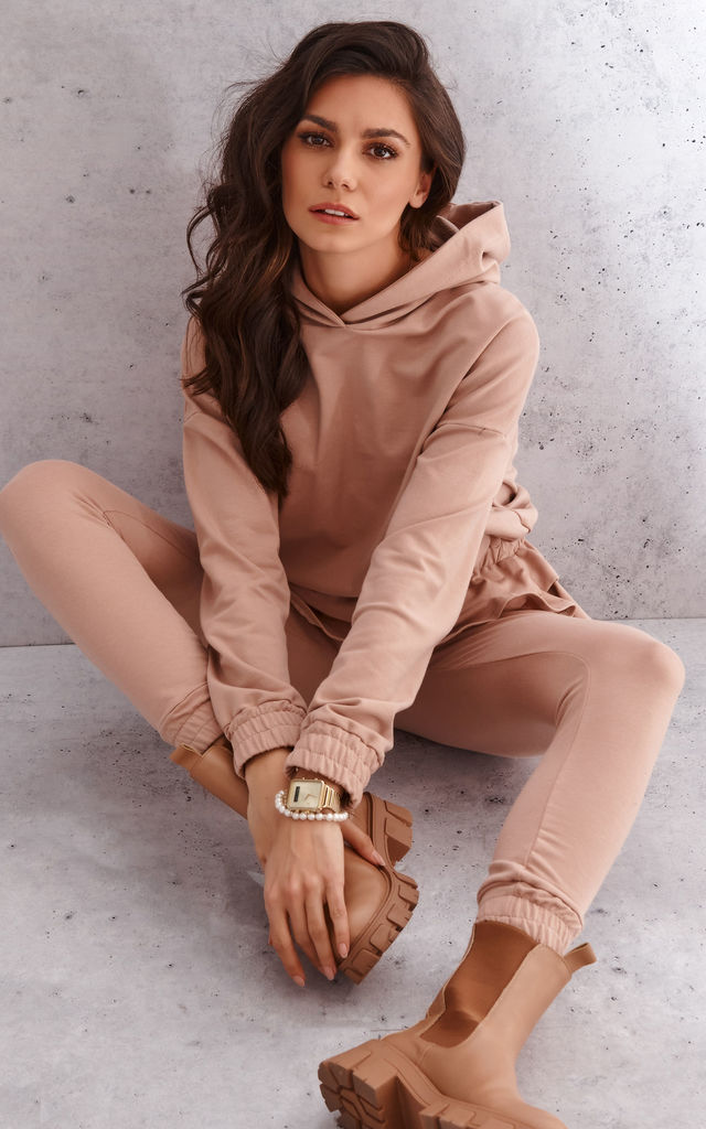 Camel Delicate Tracksuit with Ruffles and Hoodie by Makadamia