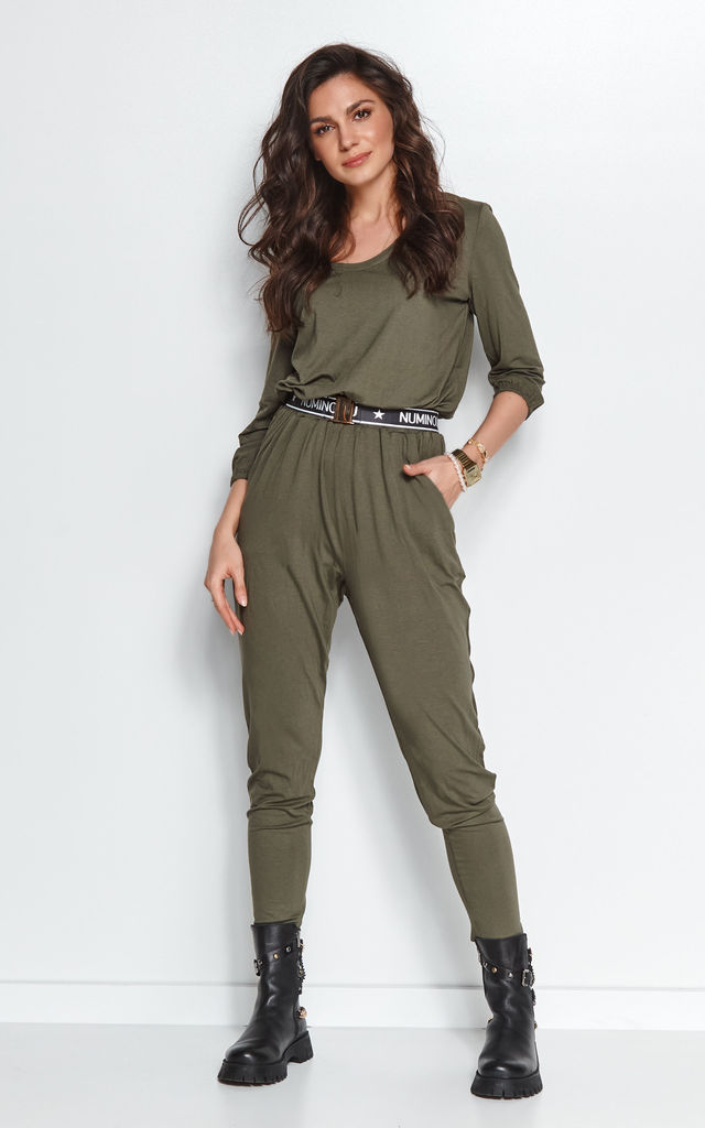 Loose Airy Jumpsuit with Pockets in Khaki by Makadamia
