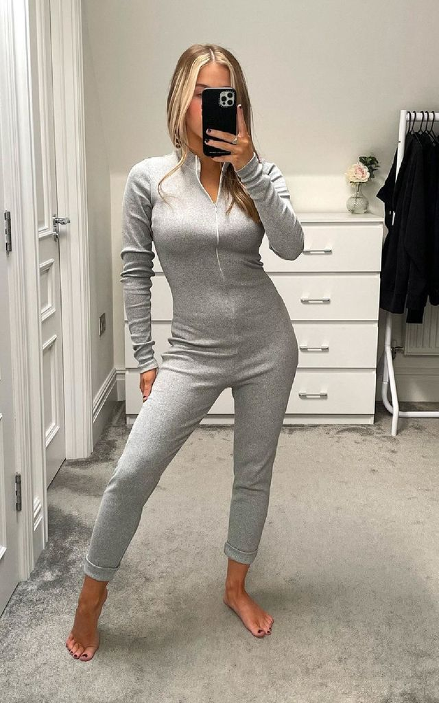 Lottie Long Sleeve Jumpsuit in Grey by IKRUSH