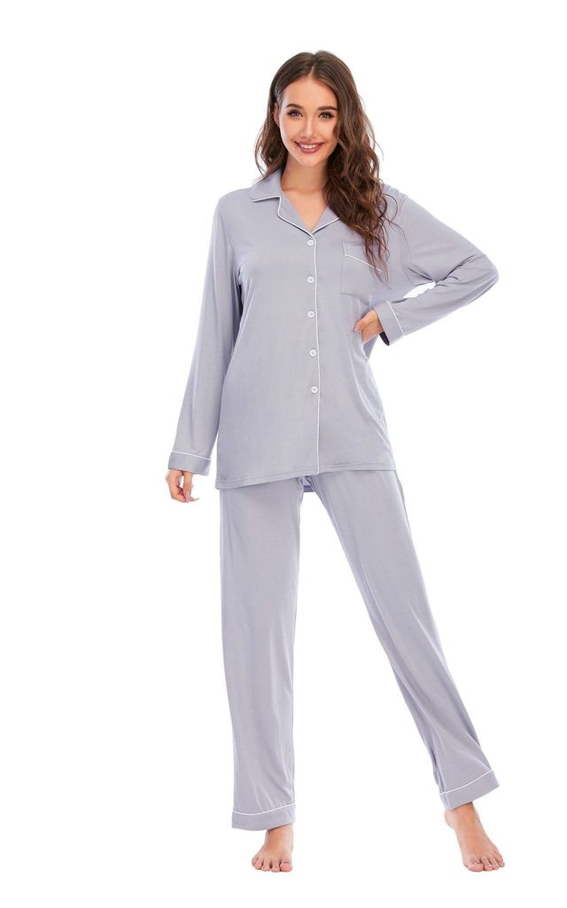 Light Grey Bamboo Cotton Pyjamas by Arya Officiale