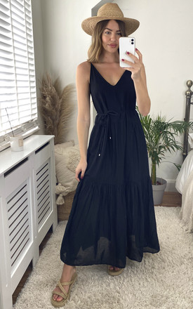 Strappy Maxi Dress With Tie Waist In Black by ONLY Product photo