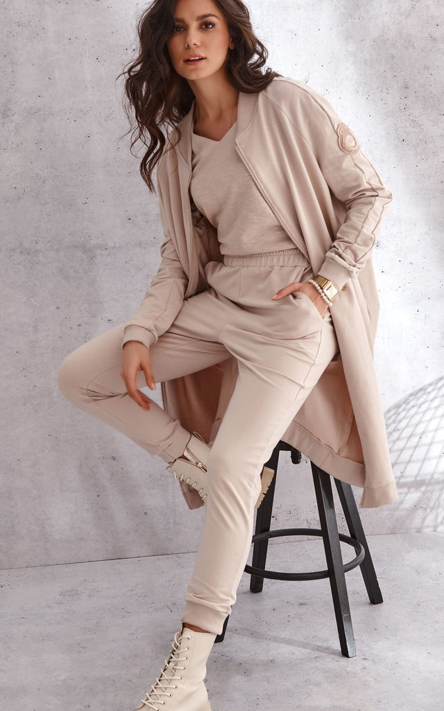 Fashionable Tracksuit with Long Zipped  Hoodie in Beige by Makadamia