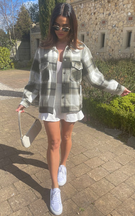 Checked Oversized Shacket In Khaki And White by Bella and Blue Product photo
