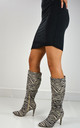 Savvy Stiletto Heeled Boots In Zebra Faux Suede by XY London