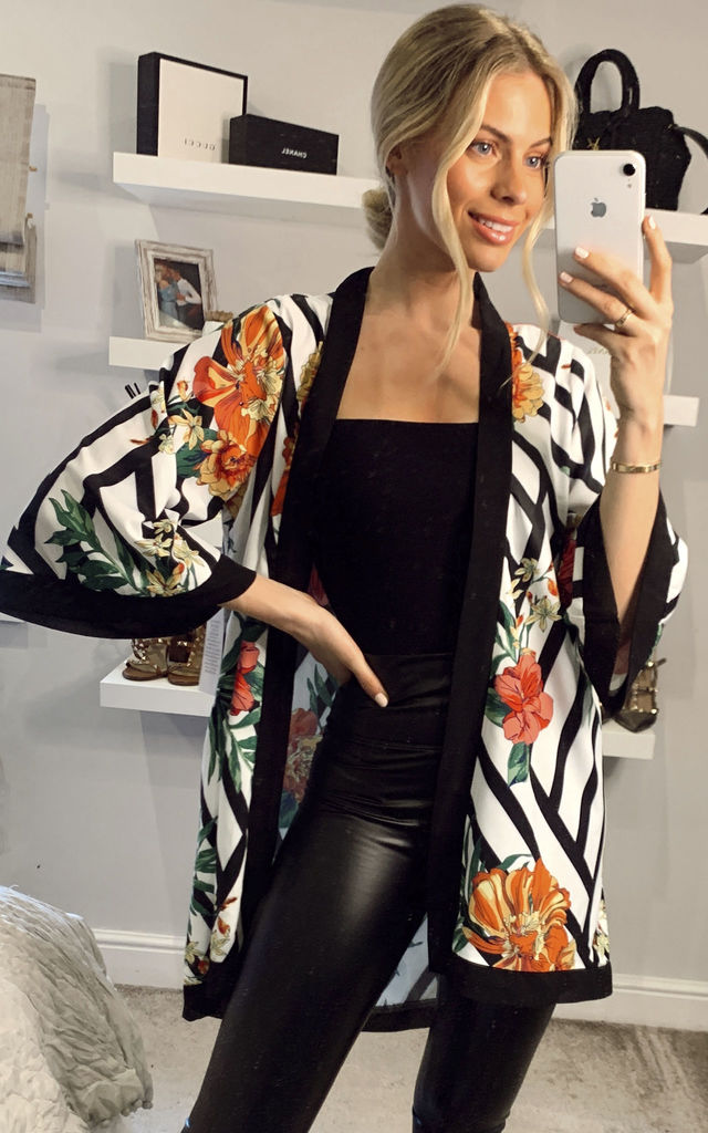 Striped Floral Kimono in Black and White by ANGELEYE