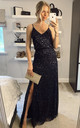 Bridesmaid Maxi Dress with Embellished Scatter Sequins in Navy by ANGELEYE