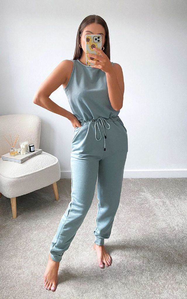 Clover Slim Leg Jumpsuit in Blue by IKRUSH