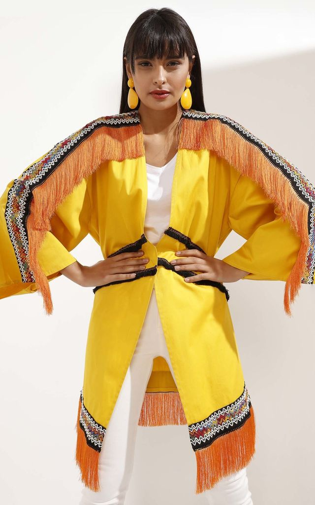 Orange Tasseled Fashionable Yellow Kimono by Pineapple