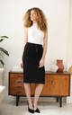 Cotton Midi Skirt With Pockets in Black by Bergamo
