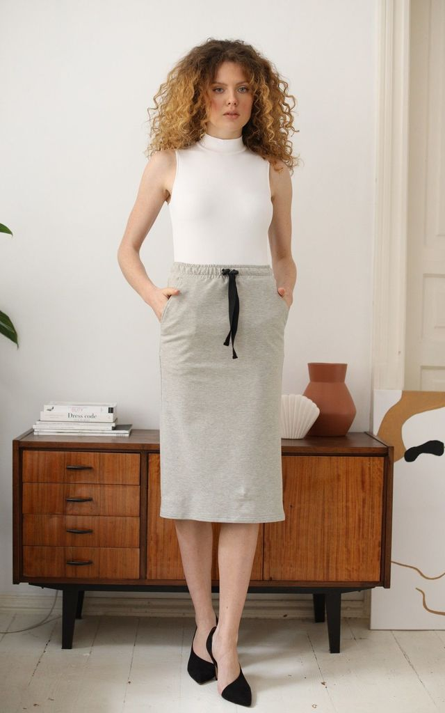 Cotton Midi Skirt With Pockets in Grey by Bergamo